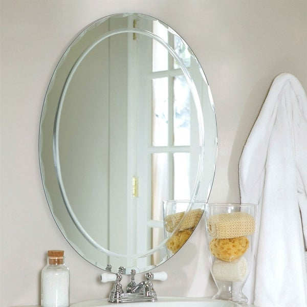 Oval Frameless Bathroom Vanity Wall Mirror with Beveled Edge Scallop Border. Opens flyout.