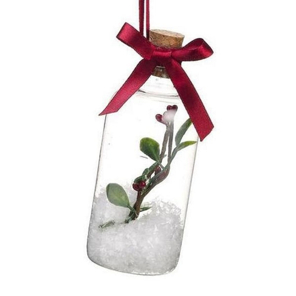 "5.25"" Festive White Snow in a Bottle Christmas Ornament"