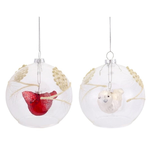 "Pack of 6 Red and White Cardinal Bird Embellished Glass Ball Christmas Ornaments 4"" - CLEAR"