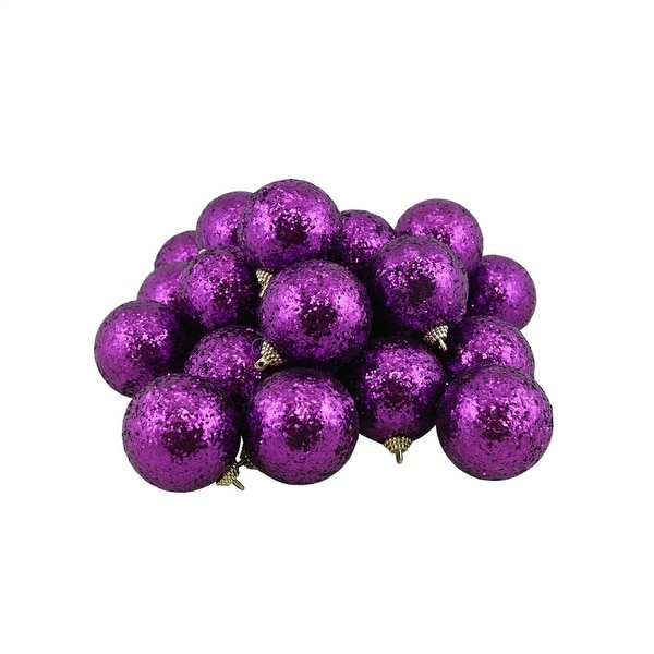 "24ct Purple Shatterproof Sequin Finish Christmas Ball Ornaments 2.5"" (60mm)"