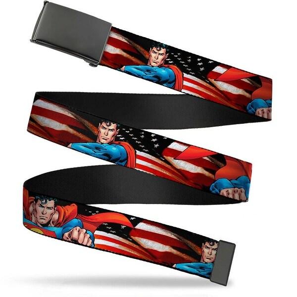 """Blank Black 1.25"""" Buckle Superman Poses American Flag Webbing Web Belt 1.25"""" Wide - M"""