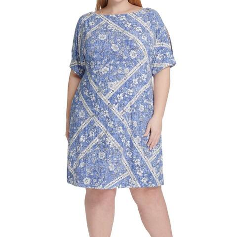 Tommy Hilfiger Women's Dress Blue Size 20W Plus Shift Slit Sleeves