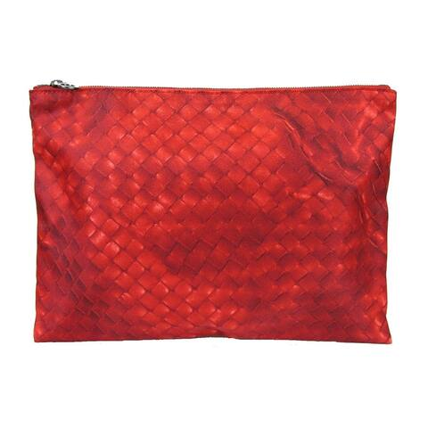 9aba3ec4c Bottega Veneta Red Pouch Intrecciolusion Nylon Cosmetic Bag 301493 6520