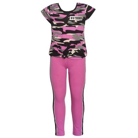 Girls Lavender Gray Camo Print T-Shirt 2 Pc Leggings Outfit 7