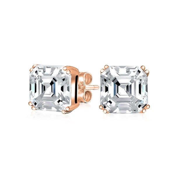 1.5CT Solitaire Square Asscher Cut AAA CZ Pendant Earrings Jewelry Set For Women Rose Gold Plate Sterling Silver