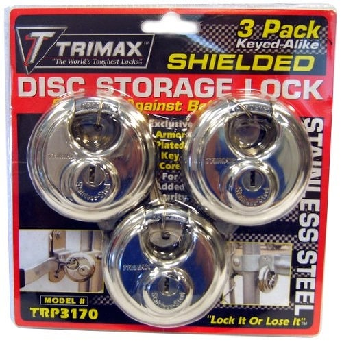 Trimax TRP3170 70 mm Round Stainless Steel Padlock with 10 m