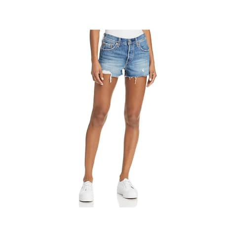 Levi's Womens 501 Denim Shorts Button Fly Distressed