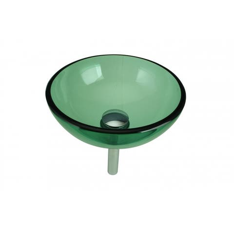 Green Mini Tempered Glass Vessel Sink with Drain Renovators Supply