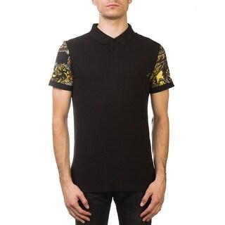 Versace Jeans Couture Pique Cotton Baroque Sleeve Polo Shirt Black Gold