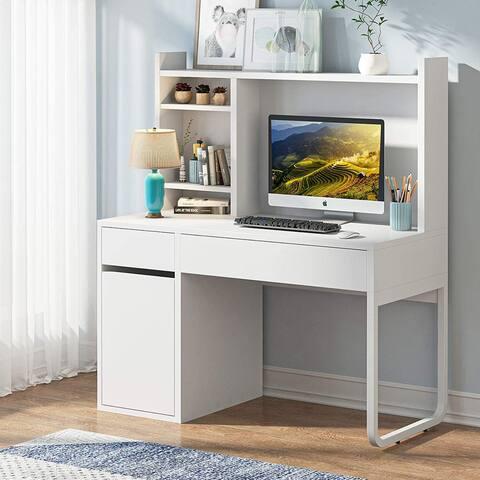 White Computer Desk with Hutch-47 inch