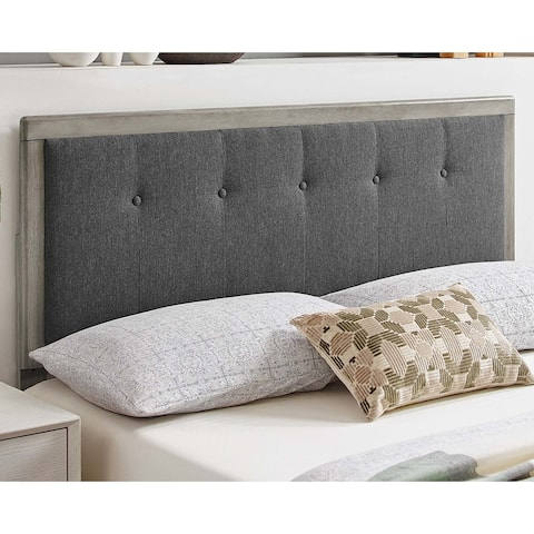 Marlin Traditional Charcoal Fabric Button Tufted Twin Size Grey Wooden Headboard