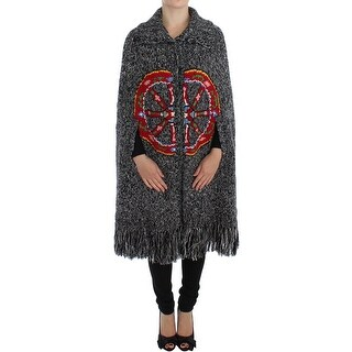 Dolce & Gabbana Gray Knitted Cashmere Wool Cardigan Cape