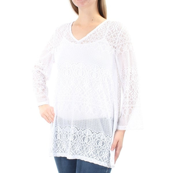 7214dfbddba ALFANI Womens White Lace Bell Sleeve V Neck Tunic Top Size: M