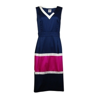 Anne Klein Women's Colorblocked Fit and Flare Dress - 16
