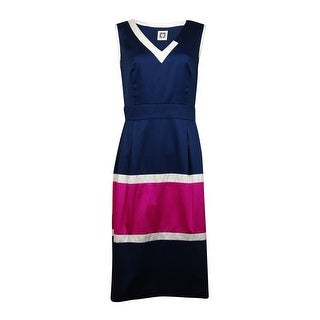 Anne Klein Women's Colorblocked Fit and Flare Dress - cadet combo - 16