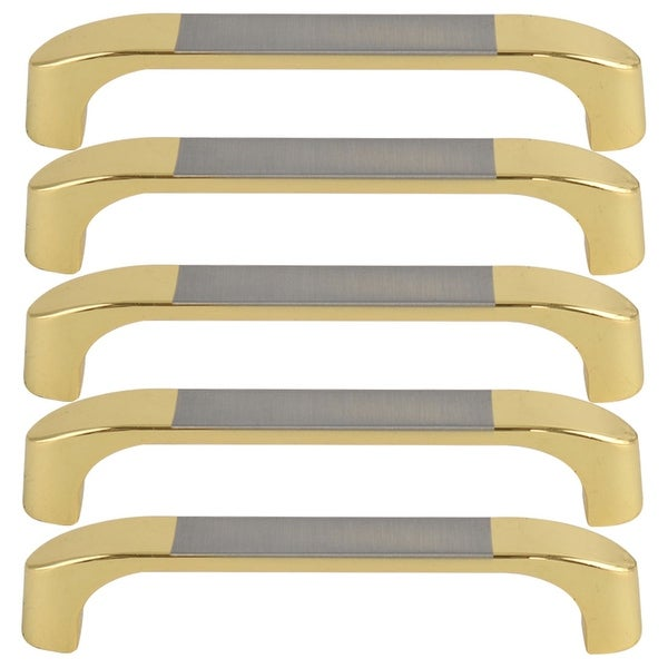 """5pcs Cabinet Handles Drawer Puller 5"""" Hole Center Zinc Alloy Plating for Cupboard Wardrobe Dresser Door Replacement, Gold Tone"""