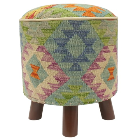 Rustic Burrows Handmade Kilim Upholstered Foot Stool