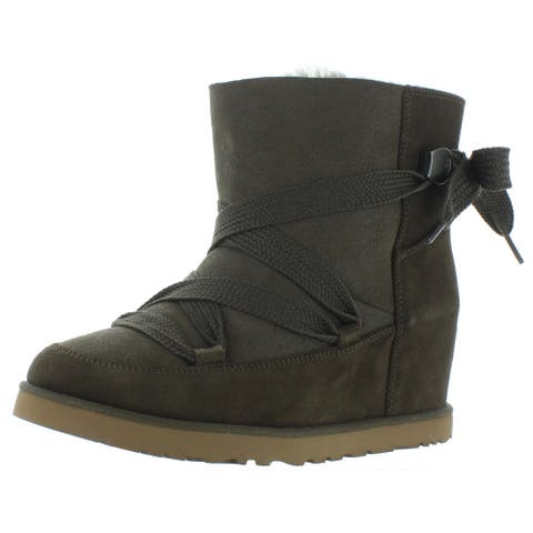 Ugg Womens Femme Winter Boots Suede Wedge - Slate