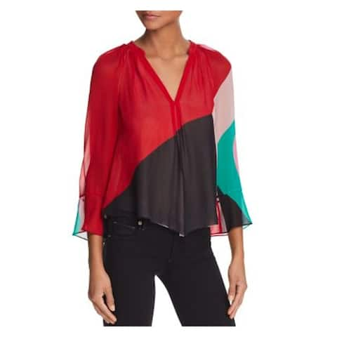 JOIE Womens Red Color Block Long Sleeve V Neck Blouse Top Size M