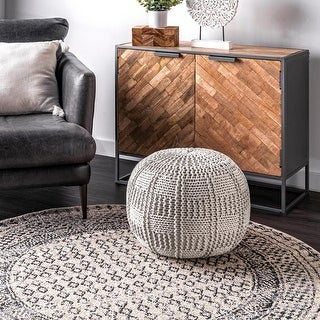 nuLOOM Casual Knitted Cotton Basketweave Pouf