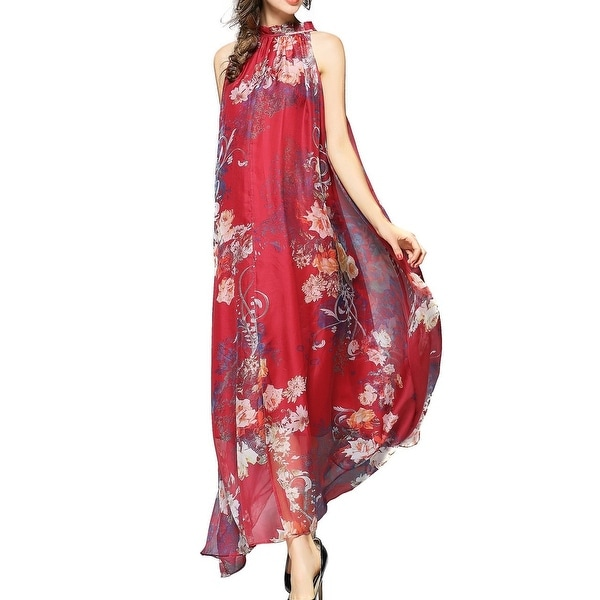 7508530ff8ac6 JOY ENVY LAND Red Women's Size XL Gown Chiffon Floral Dress