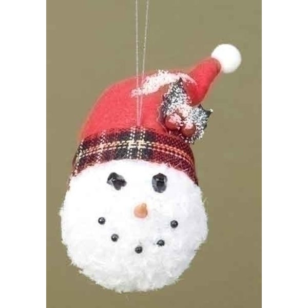 'Twas the Night Snowman Head with Plaid Hat Christmas Ornament - WHITE