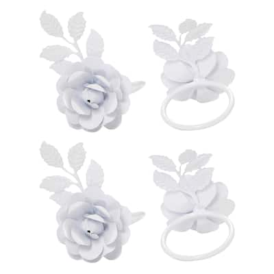 VIBHSA Napkin Rings Set of 12 (White Rose)