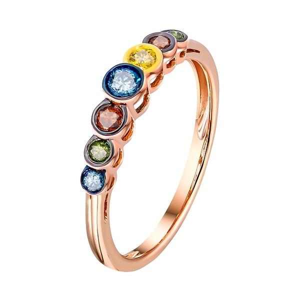 Prism Jewel 0.25 Carat Round Brilliant Cut Multi Color Diamond 7-Stone Ring