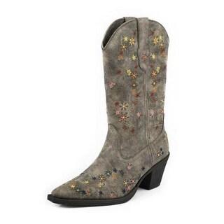 Roper Western Boots Girls Kids Floral Cowboy Brown 09-018-1556-0742 BR