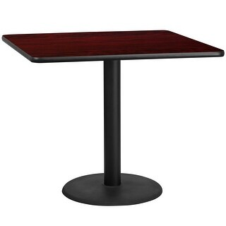 "Dyersburg 42'' Square Mahogany Laminate Table Top w/30"" High Round Base"