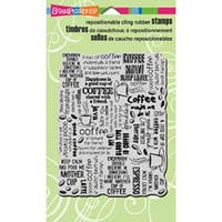 """Coffee Background - Stampendous Cling Rubber Stamp 4""""X6"""" Sheet"""