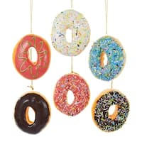 """Club Pack of 24 Dessert Delights Frosted Doughnut Christmas Ornaments 3.75"""" - PInk"""