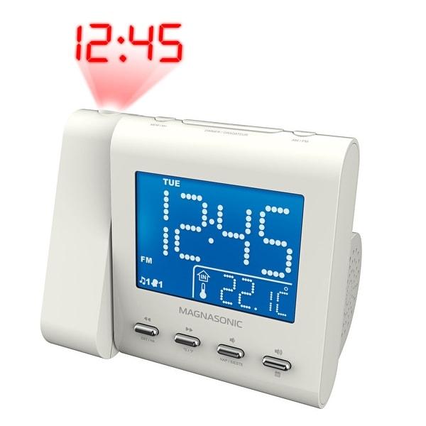 Magnasonic Projection Alarm Clock with AM/FM Radio, Battery Backup, Auto Time Set, Dual Alarm & 3.5mm Aux Input - White