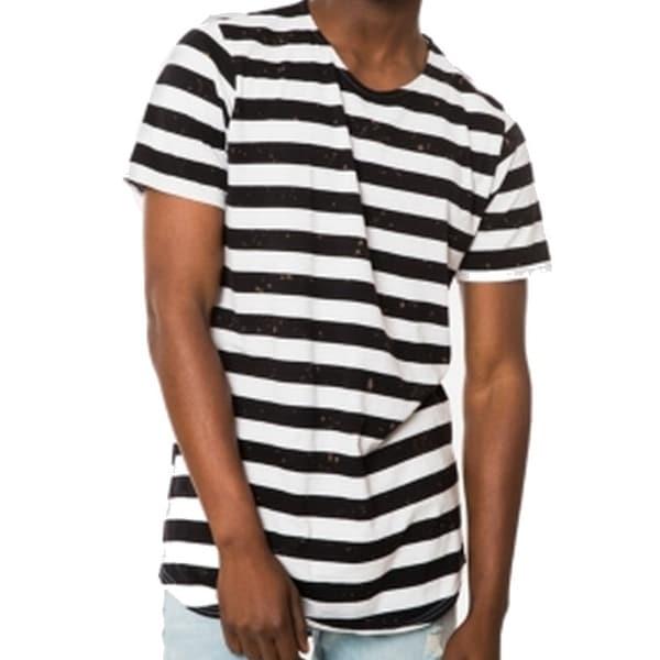 8e28c90e786d3a Shop Jaywalker Black White Men XL Short Sleeve Striped Long Tee T-Shirt -  Free Shipping On Orders Over $45 - Overstock - 21386782