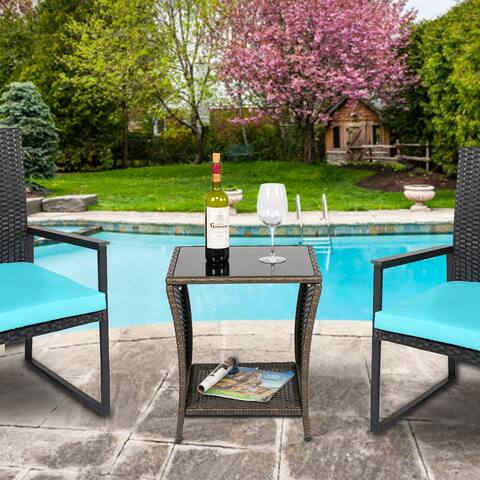 Kinbor Glass Top Outdoor Wicker Patio Coffee Table w/ Storage