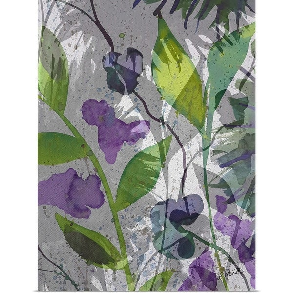 """Purple Green Floral Merge"" Poster Print"