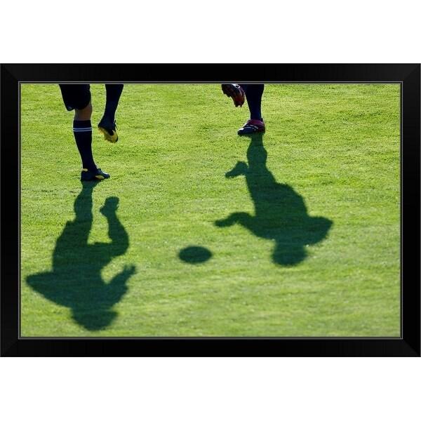 """""""Soccer players doing drills."""" Black Framed Print"""