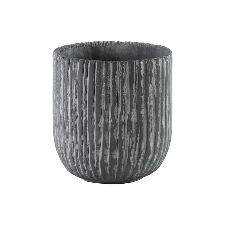 Cement Round Pot With Tapered Bottom In Broomed Finish, Large, Gray