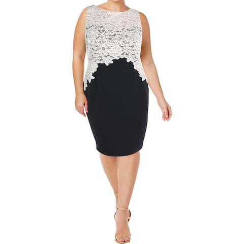Lauren Ralph Lauren Womens Petites Wear to Work Dress Lace Overlay Sleeveless