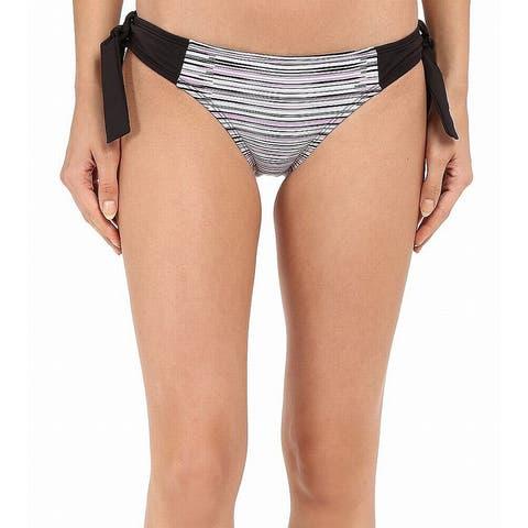 Soybu Purple Black Womens Size Large L Sonic Wave Tie Bikini Bottom
