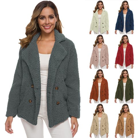 Women Fluffy Fuzzy Open Front Cardigan Jacket Coat Outwear With Pockets