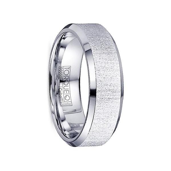 ARBITER Flat Textured Cobalt Ring Beveled Polished Edges by Crown Ring - 7mm