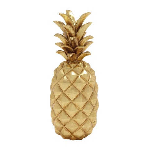 """Pineapple Decor Fruit Display For Living Room And Kitchen 18"""" Gold - 7 x 7 x 18"""