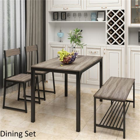 AOOLIVE 4-Pcs Dining Set with Kitchen Table,2 Chairs and Bench, Gray