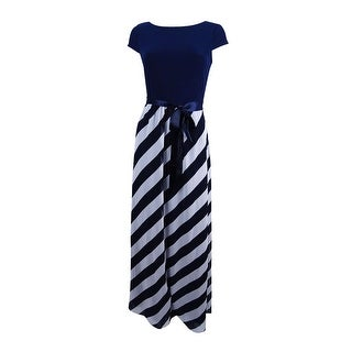 SL Fashions Women's Diagonal Stripe Maxi Dress - Navy/Ivory
