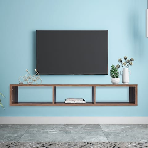 """Home Use 60"""" Shallow Floating TV Console with 3 Shelves- 4 Colors"""