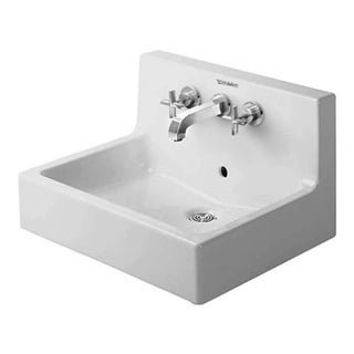 """Duravit 453600000 Vero 23-5/8"""" Ceramic Wall Mounted Bathroom Sink with Widespread Faucet Holes and Overflow"""