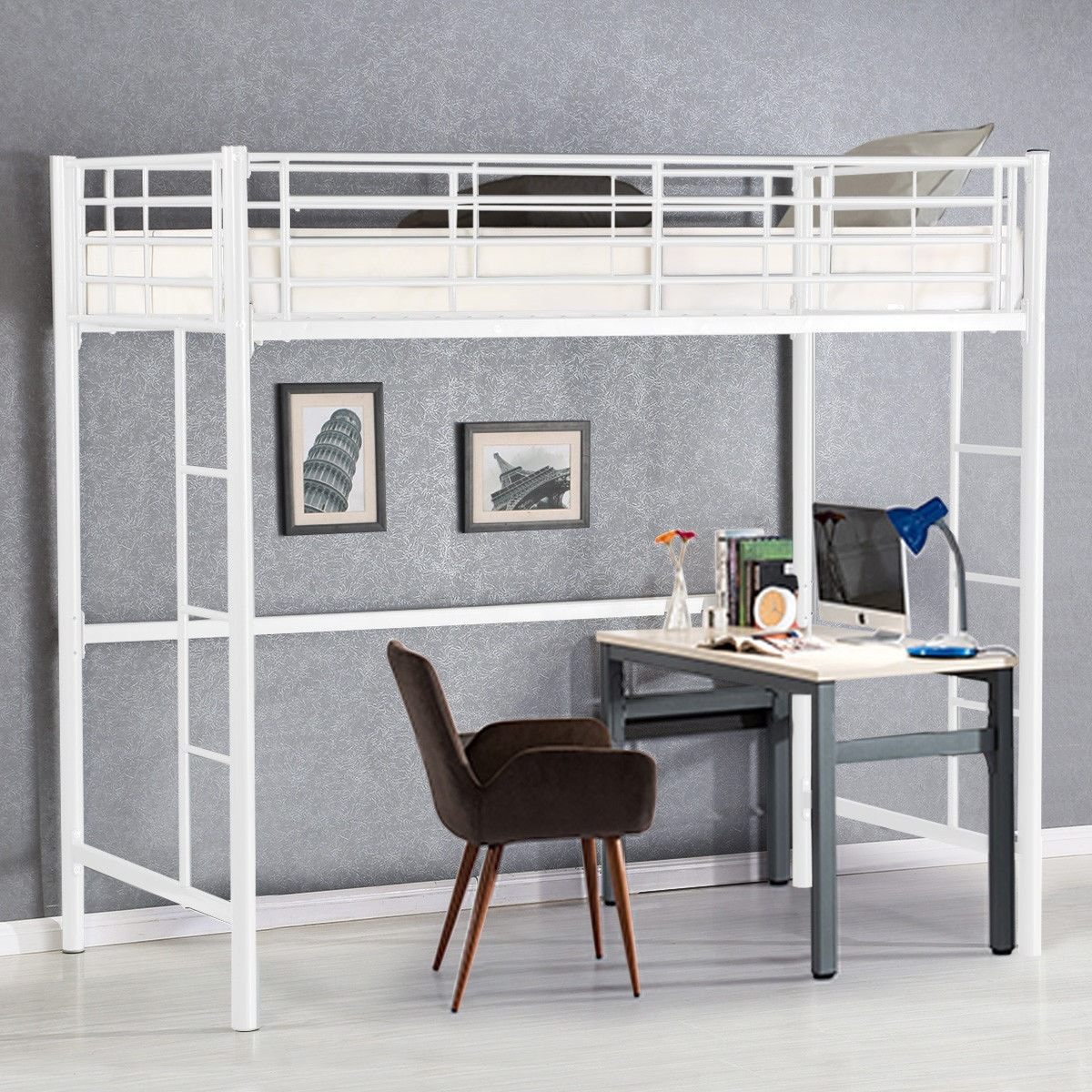 Picture of: Gymax Twin Loft Bed Metal Bunk Ladder Beds Boys Girls Teens Kids Overstock 22833861