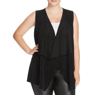 Calvin Klein Womens Plus Casual Vest Faux Suede Knit Mixed Media