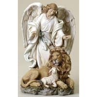 "9.25"" Brown and Ivory Angel with Lion and Lamb Religious Figurine"